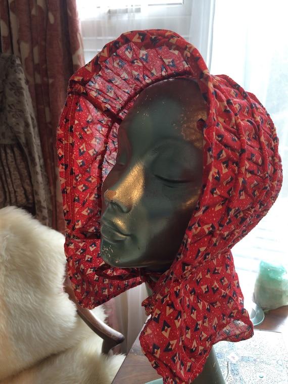 1930's ladies sunbonnet/field bonnet. Flexible hoops. Stunning cotton fabric. Medium. Ladies
