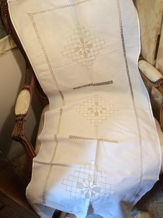 50x21 inches drawnthreadwork runner in good clean condition. Pretty. Cotton