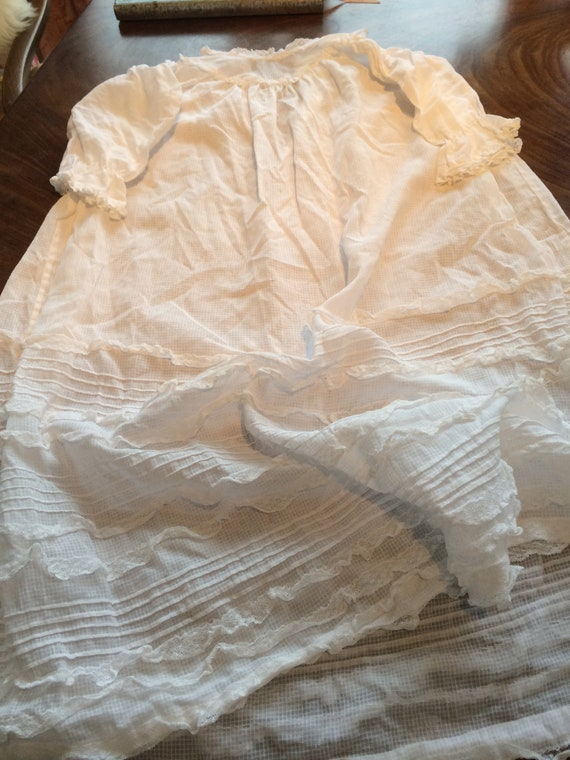 20's christening gown. 26chestx26 ins long. Pretty. White. Lace
