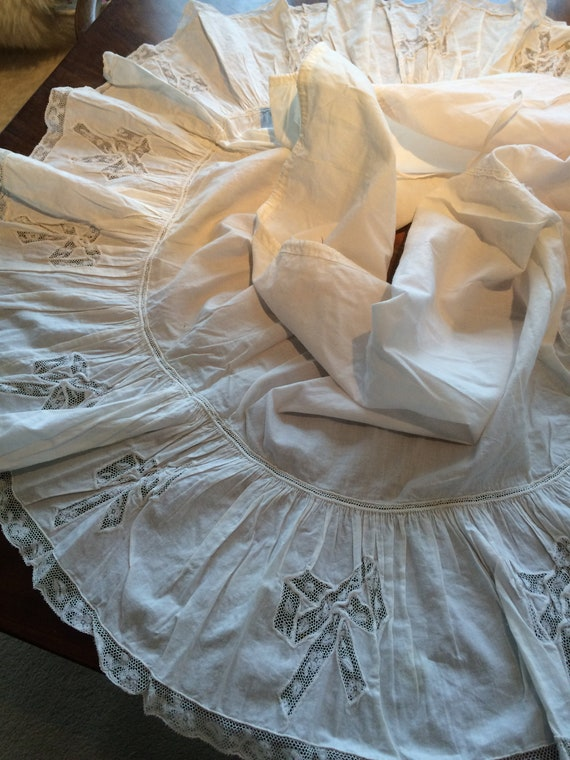 Edwardian lace and cotton flounce from petticoat.. Quality. Beautiful