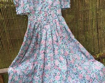 Laura ashley vintage fine cotton dress. 36x26x45 ins length. Lovely!