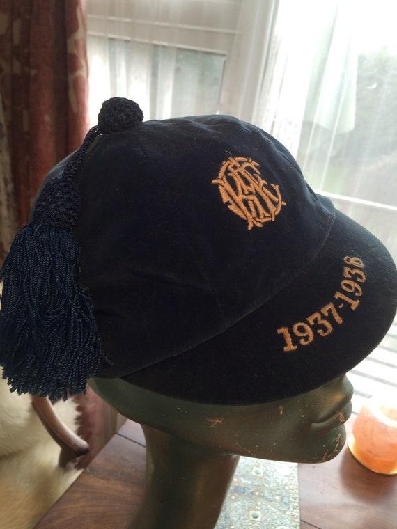 Unusual 1930's blue velvet tasselled cap. Genuine. Size 7. Good condition.