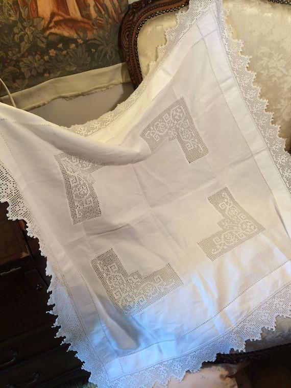 Edwardian lace insert 37ins square linen tablecloth. Vintage