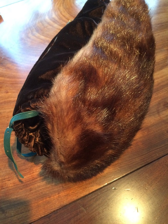 Unusual 1930's mink and velvet muff and bag combined. Padded. Warm. 14x12 inches. Good