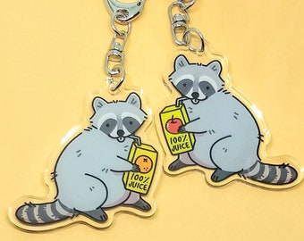 723b0c0b4 Raccoon Keychain — Trash Animal Keychain — Cute Animal Keychain — Raccoon  Drinking Orange Juice Apple Juice — Double Sided Acrylic Charm