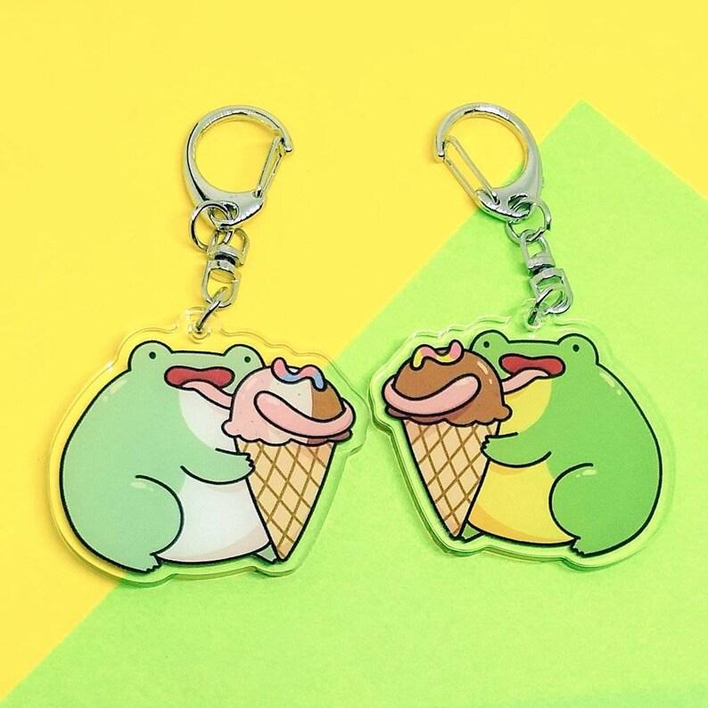 Ice Cream Frog Keychain  Cute Frog Keychain  Whites Tree image 0