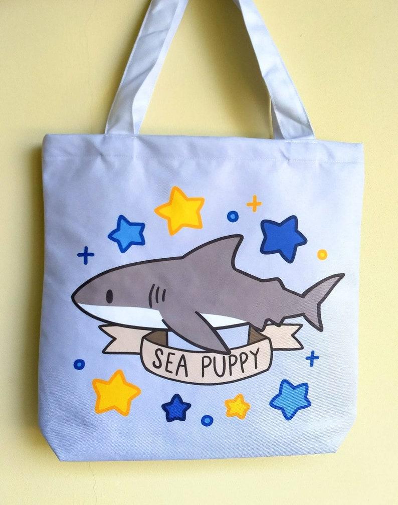 Shark Sea Puppy Tote Bag \u2014 Cute Shark Shopping Bag \u2014 Ocean Marine Life Shoulder Bag \u2014 Sea Life Tote Bag