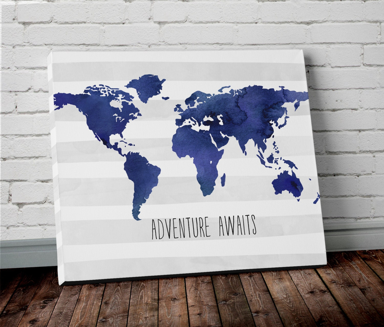 Watercolor Navy Blue World Map Canvas Wall Art Adventure Awaits Etsy