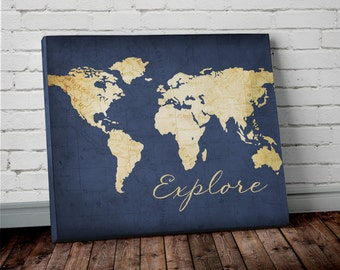 Navy world map wall art canvas world map print in navy blue explore world map wall art canvas world map print in navy blue and gold gumiabroncs Image collections