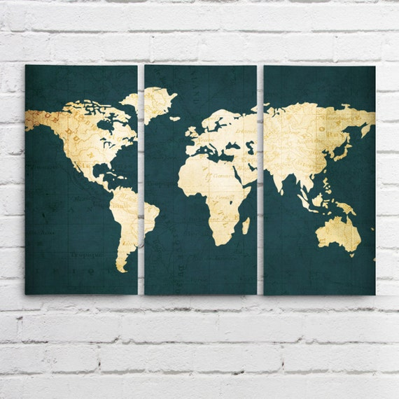 Navy WORLD MAP Wall ART Triptych - 3 Canvases World Map Print in Navy Blue  and Gold