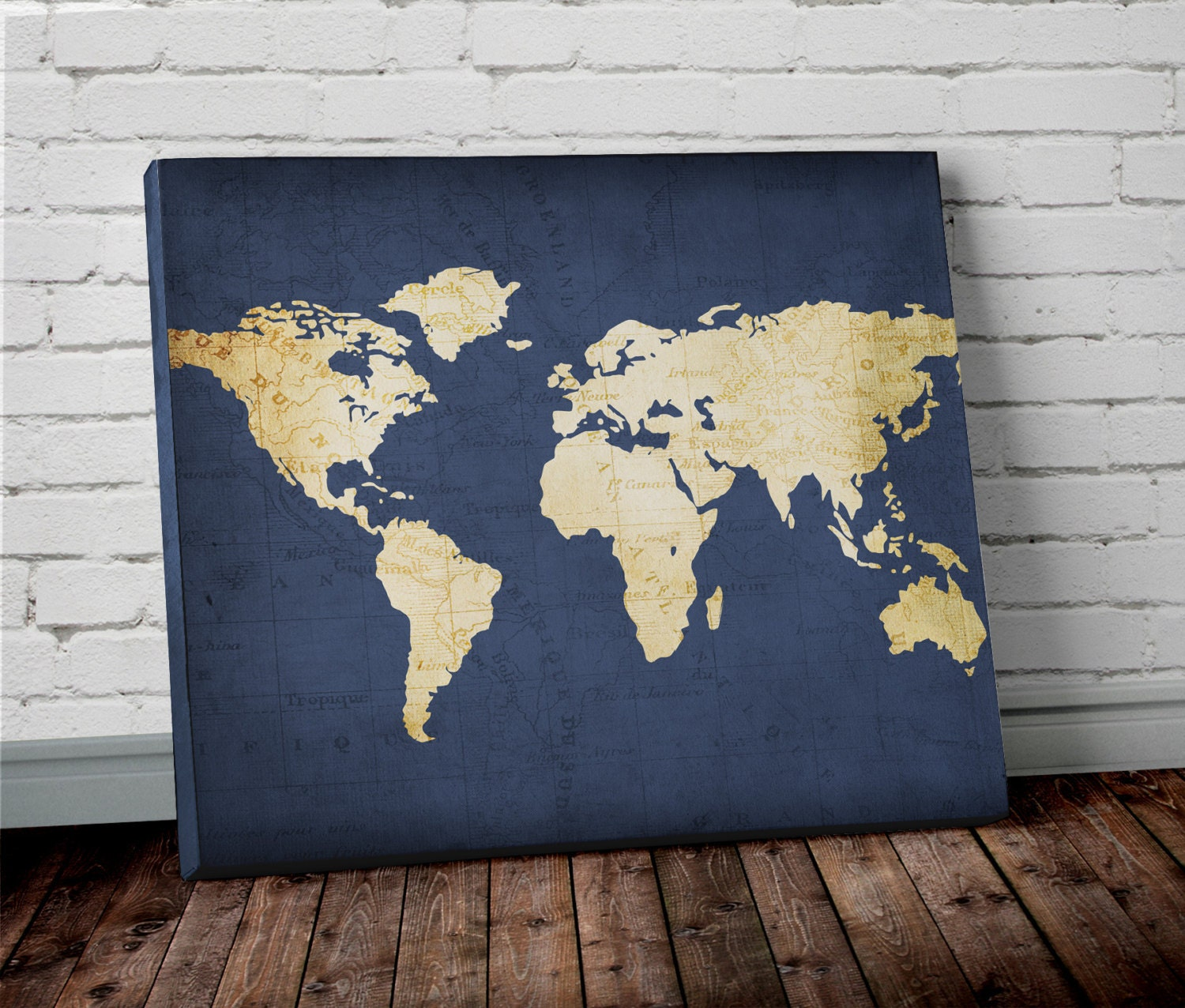 Navy WORLD MAP Wall ART Canvas World Map Print in Navy Blue | Etsy on