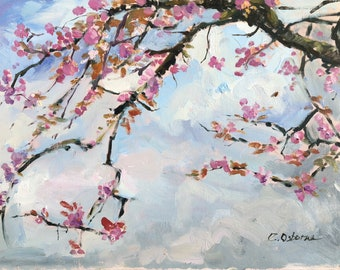 Plein air Oil Painting, Original Impressionist style Pink cherry blossoms, Springtime, 16x12in