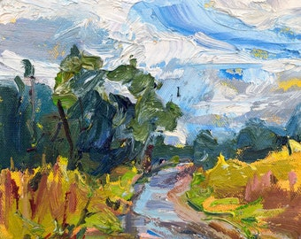Irish Landscape, Path with blue sky and white clouds, I'm on my way, Impressionist oil painting