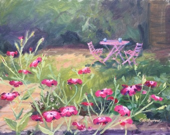 Plein air landscape painting, original oil on canvas, pink flowers in the garden, coffee break outdoors, summer living, 16x20in
