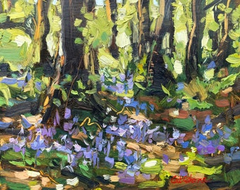 Irish Art, Bluebells at Curraghchase, Oil painting