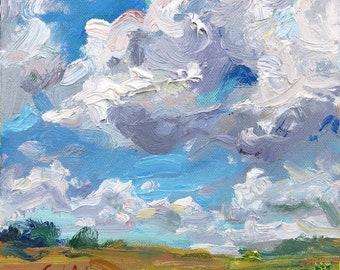 Puffy Clouds over green field, Original Oil Painting, Irish Landscape, Impressionist loose style