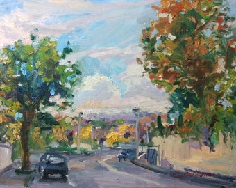 Plein air Oil Painting, Original Impressionist Landscape, Bright autumn morning, Street View, O'Connell Ave, 16x12in