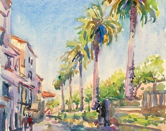 Original watercolour painting, Santiago de Compostela, Blue Sky, View of palm trees on Street, Spain, loose Impressionist style, 11x13in