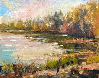 Irish Art, Spring at Shannon river, Oil painting, 24x32cm