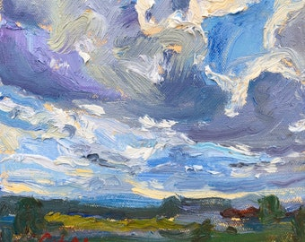 Original Oil Painting, Irish Landscape with Big Clouds