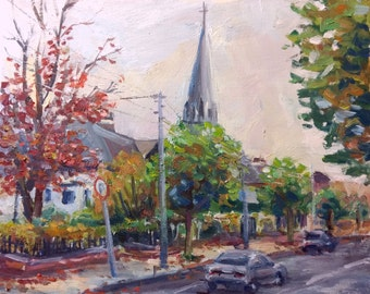 Original Oil Painting, Autumn Landscape, Street view with steeple and autumn trees, Impressionist Style, square 40x40cm
