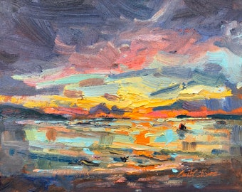 Original Landscape Painting, Sunrise on the sea with stormclouds. Oil painting on canvas board, 24x32cm