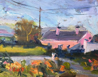 Original oil painting of pink cottage in County Clare, Irish countryside painting