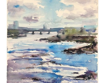 Original watercolour painting, Irish Art, Atmospheric view of Limerick and Shannon river,