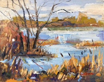 Original Landscape Painting, Wetlands reeds and lake at Westfields, Oil painting on canvas board, 24x32cm