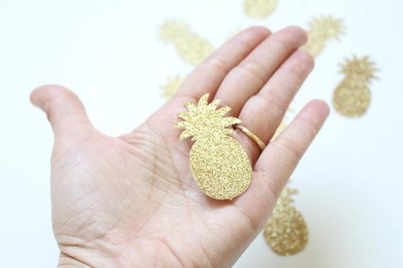 Summer Party Confetti Pineapple Confetti Pool Party Confetti XLARGE 3 Gold Pineapples Glitter Confetti Luau Party confetti