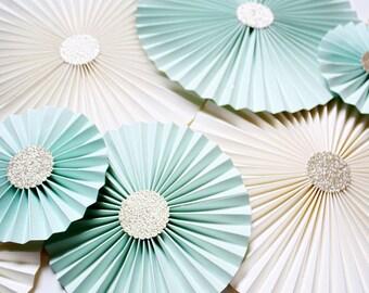 Mint Wedding Decorations - Mint Wedding - Wedding Pinwheels - Winter Wedding Decorations - Paper Rosettes - Paper Fans
