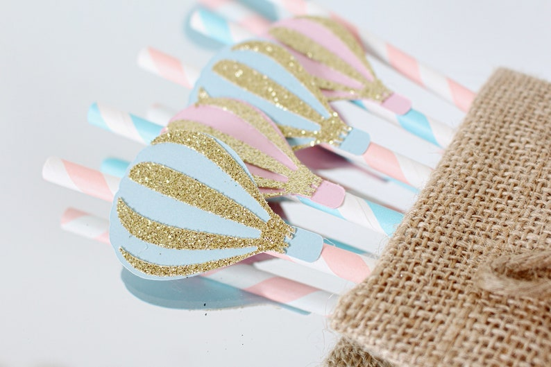 Hot Air Balloon Decorations Hot Air Balloon Party Paper Straws Party Straws Fly Away with me First Birthday Party Up Up and Away