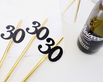 30th Birthday Party Straws - 40th Birthday Party Straws -50th Birthday Party Straws -30th Birthday for her -Black and Gold Party - SET of 10