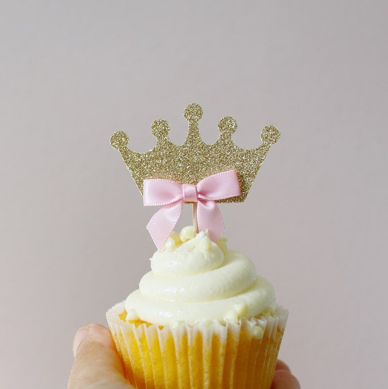Princess Cupcake Toppers Pink And Gold Birthday Decorations