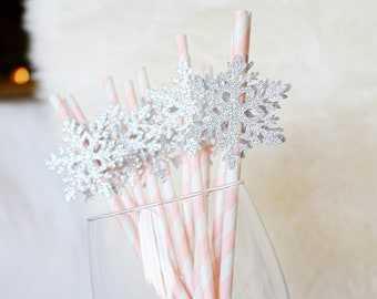 Snowflake Straws, Winter Wonderland Birthday Decorations, Winter Onederland First Birthday, Snowflake Decorations, Pink Snowflake Straws