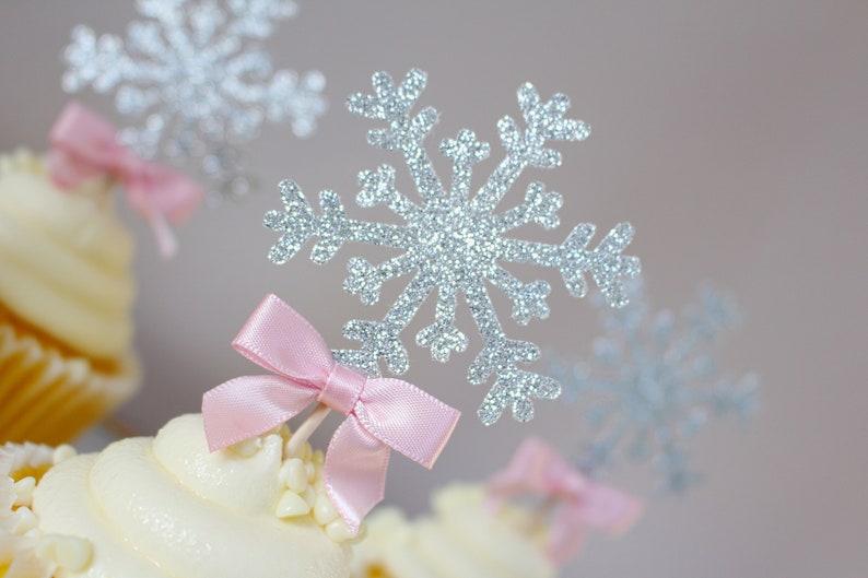 Snowflake Cupcake Topper Snowflake Party Decoration Winter Etsy