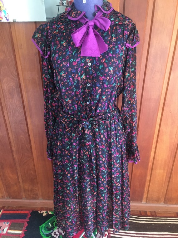 Zandra Rhodes vintage 70s silk dress