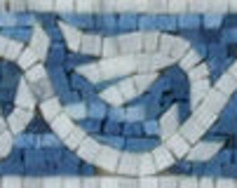 "Miniature Wing Blue White Garden 39""X4"" POOL Marble Mosaic BD466"