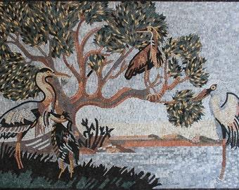 Handmade Herons Lakeside View Tree Marble Mosaic AN1861
