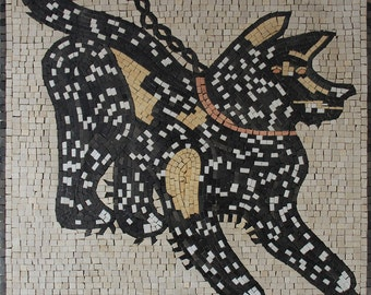 "Beware Of Dog 25""X29"" Guard Handmade Marble Mosaic AN71"
