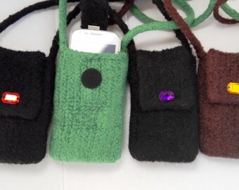 EL BURRO felt bag lady bag Mobile Pocket i-phone Pocket 100% wool 9 x 13 cm shoulder bag bag black green brown ihone-bag