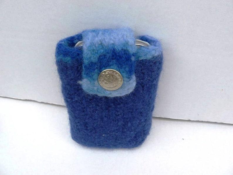 EL BURRO felt bag pouch belt bag lady bag 100/% wool 8 x 13 cm Blue light blue bag