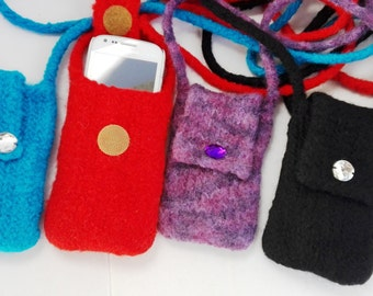 EL BURRO felt bag lady bag Mobile Pocket i-phone Pocket 100% wool 9 x 13 cm shoulder bag bag black purple red blue iphone bag