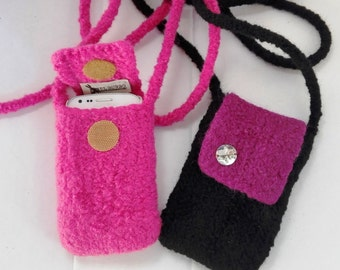 EL BURRO felt bag lady bag Mobile Pocket i-phone Pocket 100% wool 8/9 x 13 cm shoulder bag bag black-purple pink