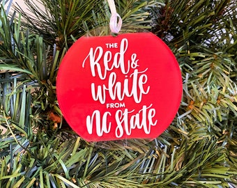 NC State Red & White Christmas Ornament | Wolfpack Ornament | Go Pack | Raleigh | North Carolina State University Fight Song | FREE SHIPPING