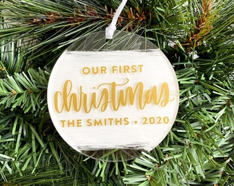 Our First Christmas Personalized Hand Lettered Christmas Ornament • Custom Acrylic Flat Ornament • Engagement • Wedding Gift | FREE SHIPPING