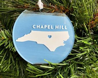 North Carolina (Any City/State) Christmas Ornament • Custom Acrylic Flat Ornament • Hometown • Personalized | FREE SHIPPING