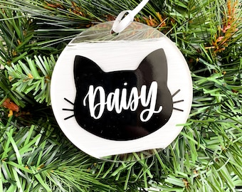 Personalized Hand Lettered Cat Ornament • Custom Acrylic Flat Ornament • Cat Name Ornament • Crazy Cat Lady • Pet Gift | FREE SHIPPING