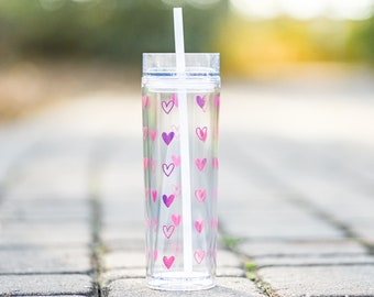 16 oz. Pink Holographic Heart Tumbler | Double Wall Skinny Tumbler | Valentine's Day Gift | Valentine for Her | Iced Coffee *FREE SHIPPING*