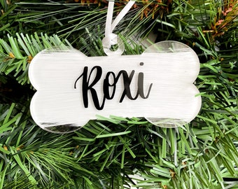 Personalized Hand Lettered Dog Ornament • Custom Acrylic Flat Ornament • Dog Bone Ornament • Dog Name Ornament • Pet Gift | FREE SHIPPING
